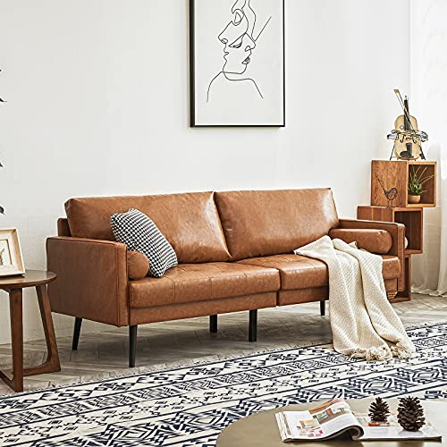 Vonanda Faux Leather Sofa Couch, Mid-Century 73 Inch 3-Seater Sofa with 2 Bolster Pillows and Hand-Stitched Comfort Cushion for Compact Living Room, Caramel