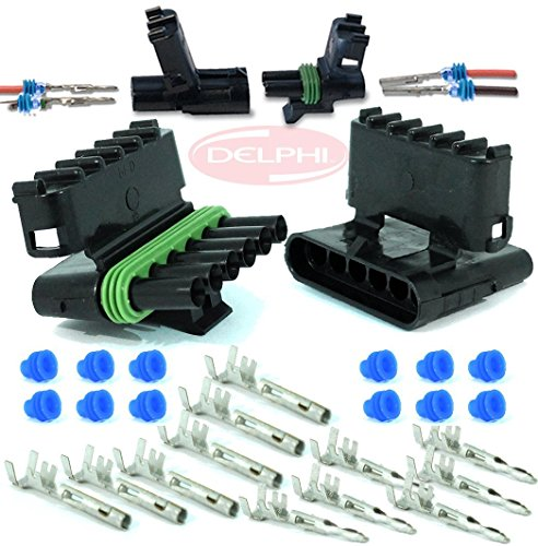 2 Circuits 20 Match Set Delphi Packard Weatherpack 2 Pin Terminal Kit 14 16 GA Waterproof