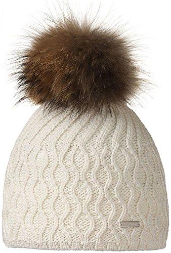 STÖHR Damen Strickmütze mit Bommel Kunstpelz Mütze Strick FARBWAHL, Grösse:ONE SIZE, Farbe:off white