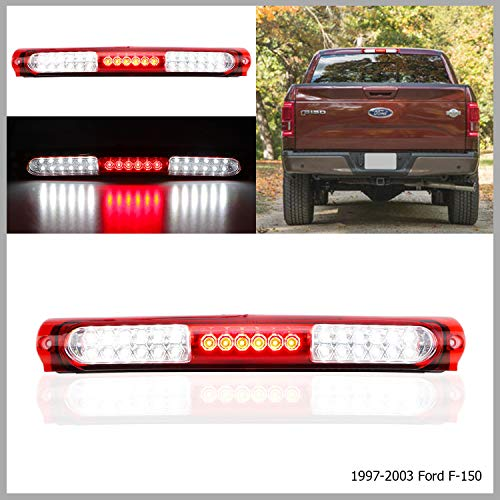 LED 3rd Brake Light High Mount Brake Light Rear Brake Light Waterproof Cargo Light fit for 1997-2003 Ford F150, 2004 Ford F150 Heritage FO2890102 XL3Z13A613AA (Chrome Housing Red Lens)