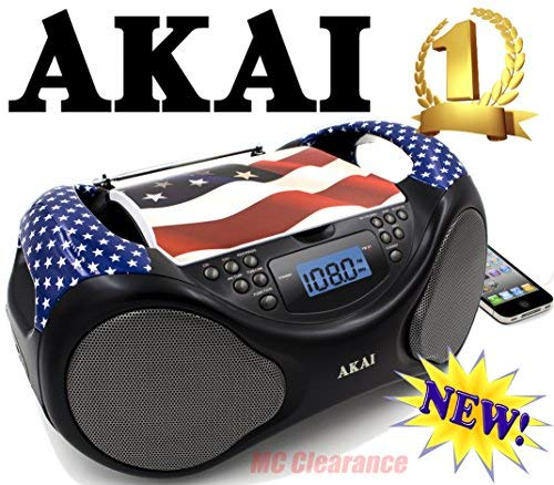 Akai CD/AM/FM Line in function AUX Portable Boombox CE2000-USA Limited Edition with LCD Display + Bass Boost