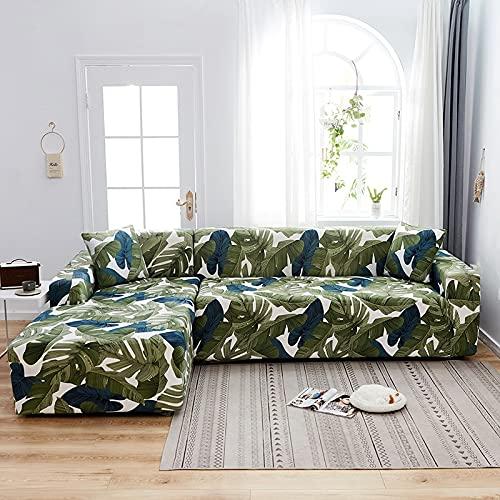 ASCV Funda elástica para sofá con Estampado Floral y Cuadros Escoceses Pide 2 Piezas Funda para sofá esquinero seccional en Forma de L Sillón Protectot A8 1 Plaza