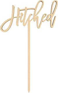 Andaz Press Hitched Cake Topper, Scripted Laser Cut Wood Cake Topper for Rustic Wedding to Traditional Wedding, Calligraphy Hitched Rustic Chic Wedding Cake Topper Decorations for Cake