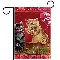春夏両面フローラルガーデンフラッグウェルカムガーデンフラッグ(28x40in)庭の装飾のため,甘い猫 カップル フラワー ハート バルーン