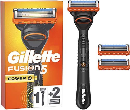 Gillette Rasoir Homme Fusion5 Power Rasoir + 2 Lames de Recharges [OFFICIEL]