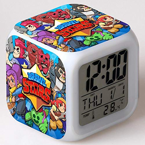 Reloj despertador para niños Reloj despertador digital de cabecera Reloj despertador con puerto de carga USB LED Luz de noche colorida Reloj despertador pequeño iluminado Silencio P210