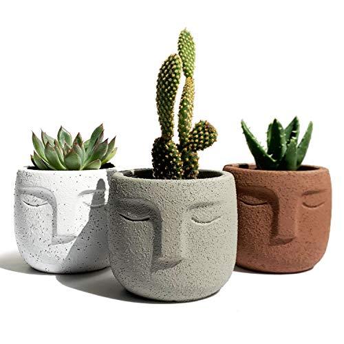 Gepege Indoor Succulent Plants Pot 3 Inch Set of 3, Concrete Head Planter for Home Office Desk Decoration, Modern Indoor/Outdoor Cement Statue Face Vase