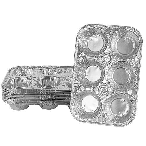 Plasticpro Muffinform aus Aluminiumfolie, wiederverwendbar und Einweg, Muffin- und Kuchenform 6 cavity