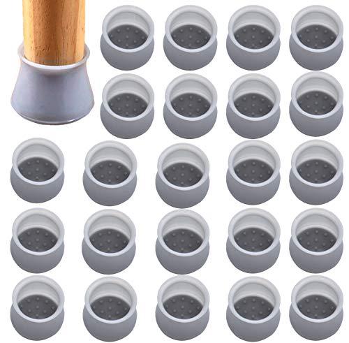 BEIFON 24 Stück Möbelbeinschutzhülle Tischfuß Bodenschutz Silikon Antislip Verhindern und Scratch Pad Stumm Bodenschutz rutschfeste Tisch Stuhlbeinkappen (Grau)