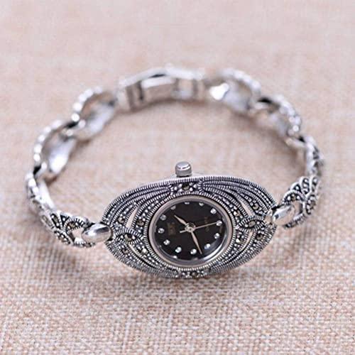 WOZUIMEI Reloj Vintage Plata de Ley 925 Reloj de Pulsera Vintage Joyas Marcasita Reloj Femenino de Plata Tailandesanegro