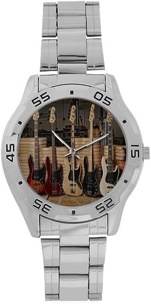 Spring new work Men's Stainless Steel Atlanta Mall Analog Watch Bass Guitar Pattern