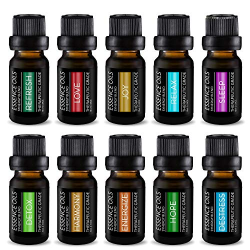 Pure Daily Care Aromatherapy Top 10 Essential Oil Synergy Blend Set – Therapeutic Grade Synergy Oil Blends – Uplift Mind, Body and Spirit – 10 x 10 Ml Blends – No Fillers & No Additives