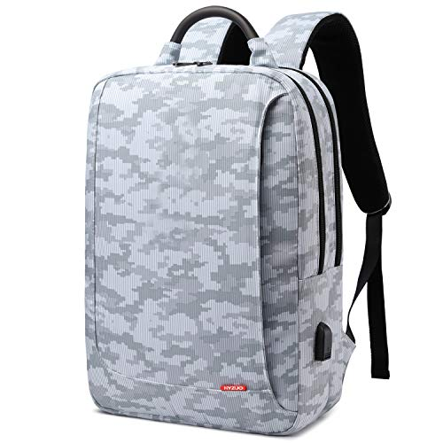 HYZUO Laptop Backpack with USB Charging Port Anti-Theft Water Resistant Slim Stylish School Backpack Business Travel Bag with Camouflage Pattern Fits Up to 15.6 Inch Laptop for Men Women, Light Grey