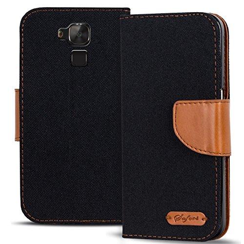 Conie Huawei GT3 Hülle für GT3 Tasche, Textil Denim Jeans Erscheinungsbild Booklet Cover Handytasche Klapphülle Etui mit Kartenfächer, Schwarz
