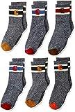 Carhartt boys Camp Crew Sock-6 Pair Pack Casual Sock, Natural, Tan, Orange, Red, Brown, Shoe Size 8-11 US