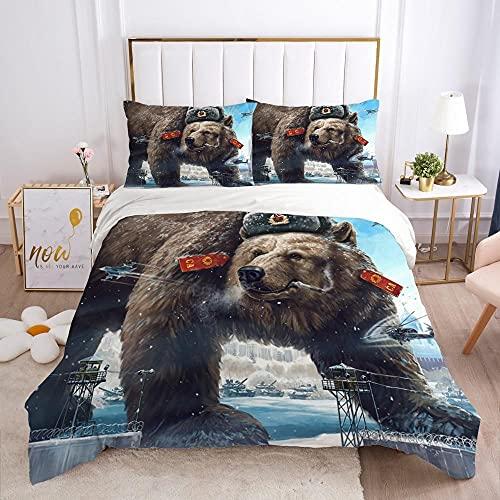 Påslakan Set Dubbelsäng 3PCS Kreativ cool isbjörn krigare Easy Care påslakan 260x220cm med 2 örngott 50 x 75 cm - Mjuk mikrofiber sängkläder med blixtlås
