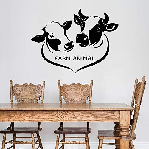 Etiqueta de la pared de animales de granja logo tienda de vacas lecheras restaurante de carne decoración de interiores puerta ventana vinilo adhesivo papel tapiz