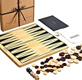 Jaques of London Backgammon and Draughts Set with Backgammon Sets Game - 2 in 1 Reversible Games Board - Ultimate Checkers and Backgammon Set - Large 30cm Size - On YOUR Side Since 1795