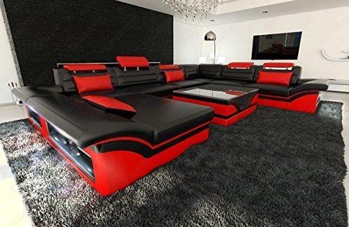 Mega divano componibile ENZO XXL + LED nero rosso