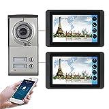 Wifi Video Doorbell, Intercom, 2 Apartments Video Door Phone Security Kit, Night Vision Camera + 7 Inch Monitor, APP Unlock