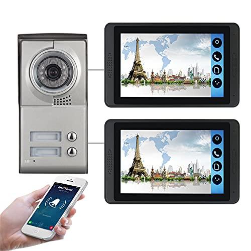 Timbre con video wifi, intercomunicador, kit de seguridad para teléfono con videoportero de 2 apartamentos, cámara de visión nocturna + monitor de 7 pulgadas, desbloqueo de la APP