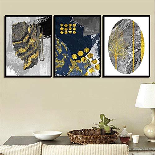 Scandinavische stijl aquarel schilderij eenvoudige HD foto poster kunst aan de muur woonkamer slaapkamer nachtkastje huisdecoratie 40x60cmx3 (frameloze)