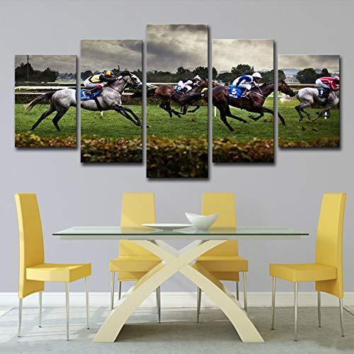 WHCCL Drucke auf Leinwand HD gedruckt 5 Stück Leinwand Kunst schnelle Pferderennen Malerei Modular gerahmte Wandbilder Raumdekor,10x15x210x20x210x25x1