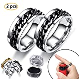 【2pcs】Bottle Opener Ring, Rotating ring bottle opener. Rotating chain titanium steel Personalized Creative Beer Bottle Opener Couple Ring Jewelry Gift, Get a Beautiful Box Free. (black, 7)