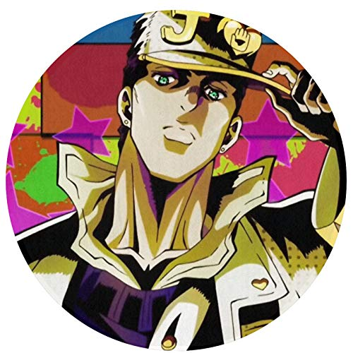 Anime JoJo's Bizarre Adventure Jonathan Joestar Alfombra Circular Geometría Moderna Alfombra Redonda Lavable Antideslizante Alfombra Sala Dormitorio Esteras