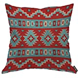 AOYEGO Red Santa Southwest Tribal Throw Pillow Cover Grain Rectangle Zigzag Repeat Ethnic Geometric Red Santa Pillow Case 18x18 Inch Decorative Men Women Boy Girl Room Cushion Cover for Home Couch Bed