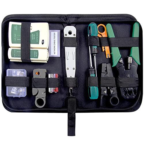 Netzwerk Werkzeug Set,moinkerin Crimpzange Set Crimpzange RJ45 14 in 1 Mit Netzwerkkabelprüfgerät für RJ45 RJ11 Cat5 Cat6 Cat6 Cable
