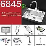 JJZXD Kitchen Sink Singolo contatore Bowl sopra o sottopiano Fatto a Mano in Acciaio Inossidabile Spazzolato Lavelli (Color : 680X450 B)
