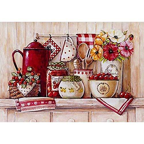 NEYOANN 100% bricolaje 5D pintura diamante taladro completo cocina vajilla rojo puntada diamante bordado patrones decoración del hogar