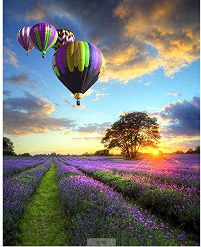 WOWDECOR Malen nach Zahlen Kits Geschenk für Erwachsene Kinder, DIY Ölgemälde Home Haus Dekor - Sonnenuntergang Lila Lavendel Blumen Heißluftballon 16 x 20 Zoll (Z47, Rahmen)