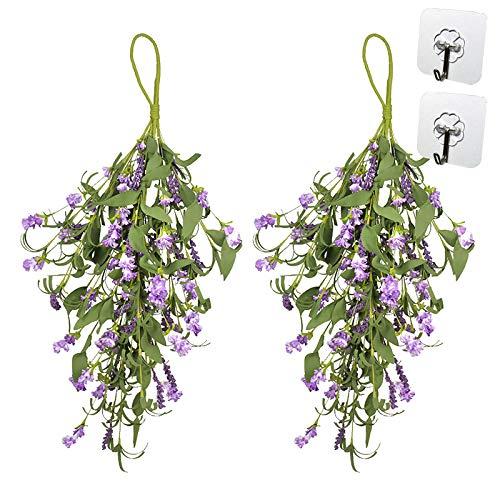 Corona de lavanda artificial, 2 unidades, guirnalda de lágrimas para puerta delantera, primavera, verano, decoración con lavanda, hojas verdes, guirnalda floral para decoración del hogar