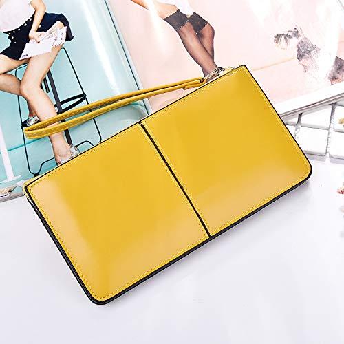 Bolso De Mano Larga De La Cartera De Las Mujeres Europea Y Americana T Moda Bolsa del Teléfono Móvil K831 Amarillo