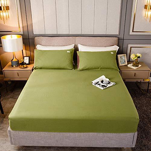 HPPSLT Protector de colchón, algodón, poliéster, Sábana de Cama Color Puro algodón-Aguacate_180cm × 220cm