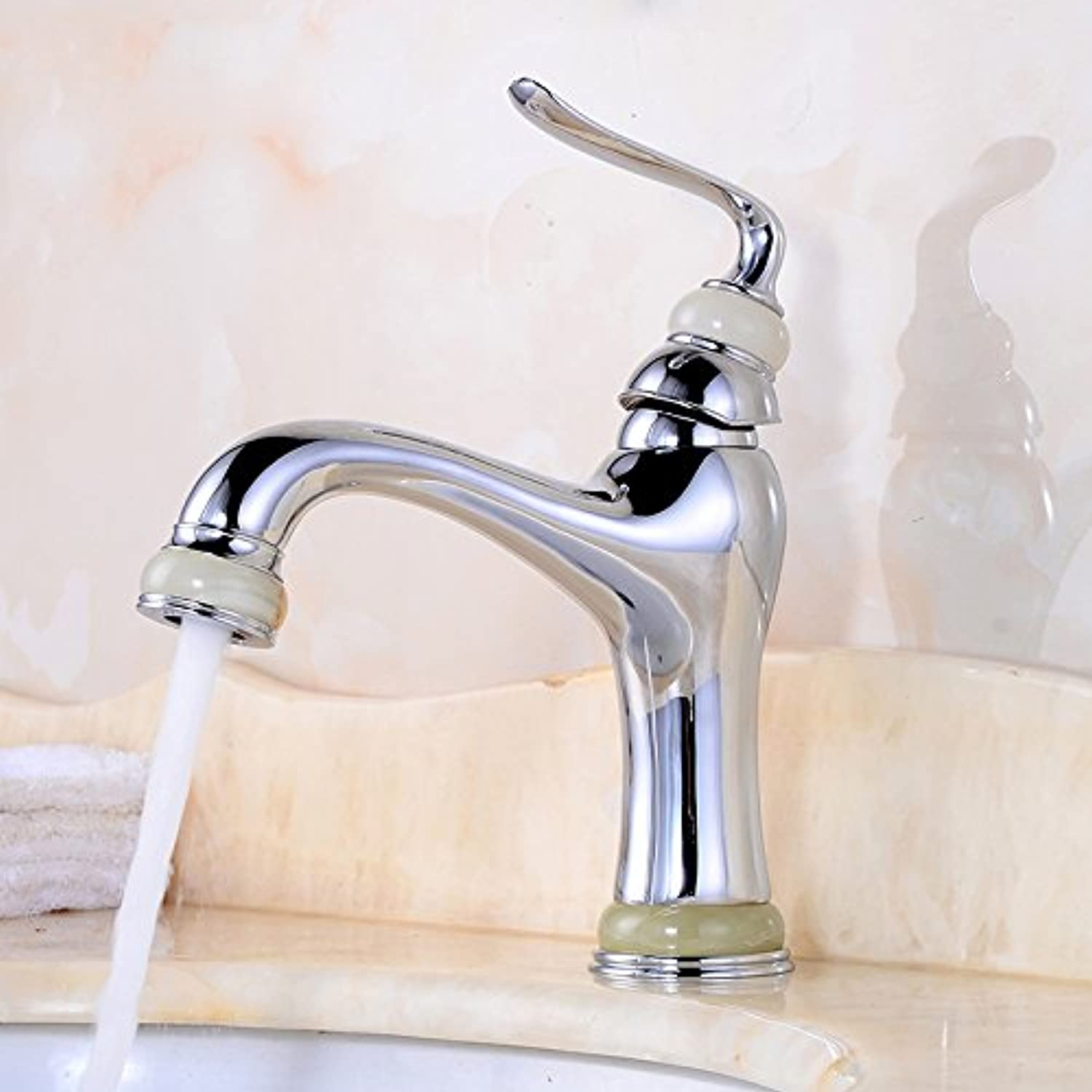 Gyps Faucet Single Lever Washbasin Mixer Tap All Copper Antique Antique Bathroom Console Basin Single Handle Single Hole Jade Solid Brass Faucet Warm