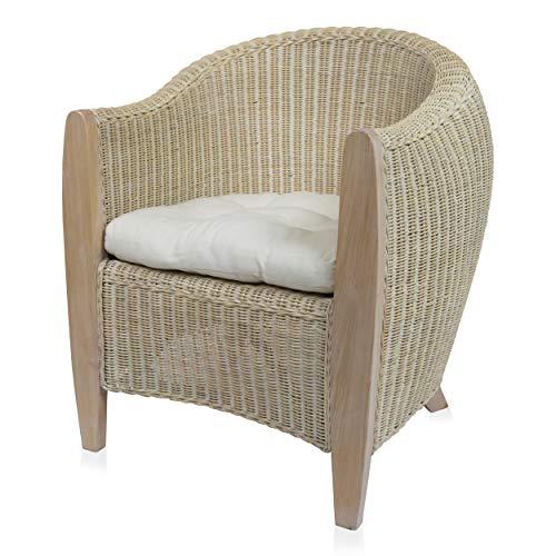 BARI Rattansessel inkl. Sitzkissen Clubsessel Loungesessel Armlehnstuhl Sessel - weiß gewischt