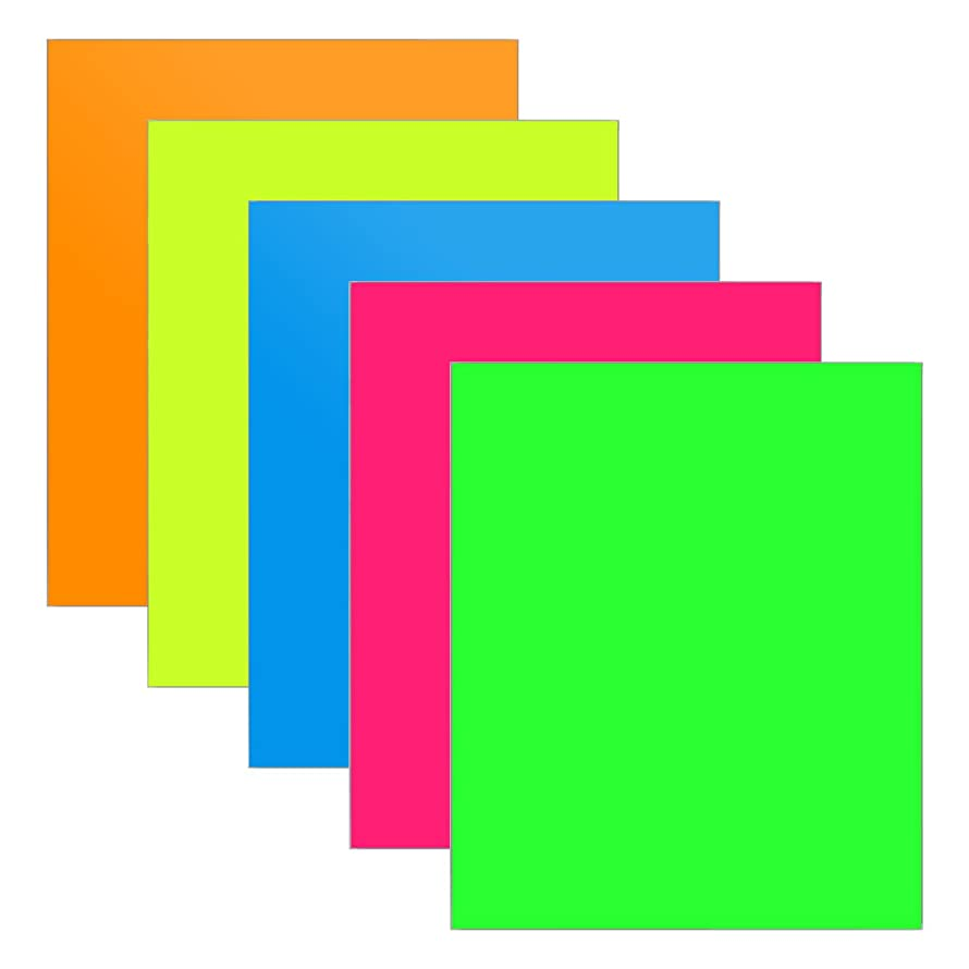 HTV Neon Colored Heat Transfer Vinyl for T-Shirts Easy to Weed, 10 inches by 12 inches Roll, 5 Sheets (Fluorescent 5 Colors)