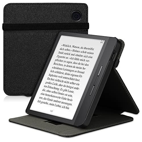 kwmobile Schutzhülle kompatibel mit Tolino Vision 5 - Hülle e-Reader mit Schlaufe Ständer - - Schwarz
