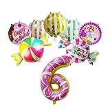XINTAOSM Cumpleaños Globo Decoración de la Fiesta 8 Piezas de 32 Pulgadas Donut Número de Aluminio Foil Balloon Candy Arco Iris Conjunto Feliz Cumpleaños (Color : 6)