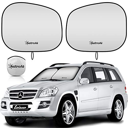 AstroAI 2-Piece Windshield Sun Shade - Windshield Shade Foldable Car Front Sunshield Blocks Max UV Rays, Titanium Silver Fabric Material, for Most Sedans SUV Truck(Medium Size 28 x 30.7 inches)