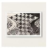 Suuyar Escherシュールな幾何学的なアートワーク抽象芸術絵画シルクキャンバスポスター壁の家の装飾の写真壁に-60X80Cmフレームなし