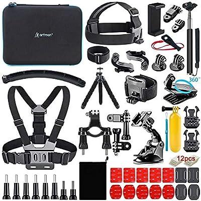 Artman Action Camera Accessories Kit 61-in-1 for Gopro Hero 9 8 7 6 5 4 3 2 1 Black Max Fusion Session Silver Akaso DJI Xiaomi Yi Apeman 2018 Insta360 from Artman
