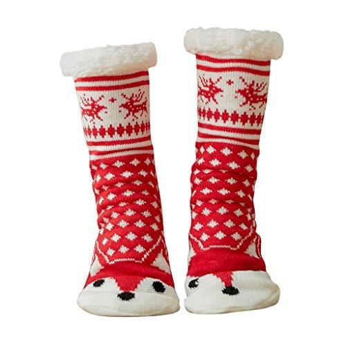 Rosennie Weihnachtssocken Bunte Socken Baumwolle Damen Mädchen Winter Warmesocken mit Innenfell Extra Dicke Haussocken Anti Rutsch Socken,Bodensocken Teppichsocken