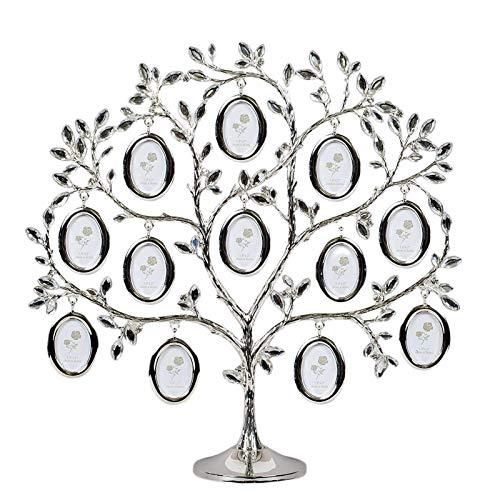 POHOVE Marco de fotos de árbol familiar con 12 marcos de fotos, árbol de familia de cristal, decoración de árbol familiar de mesa, marco de fotos, marco de fotos de familia