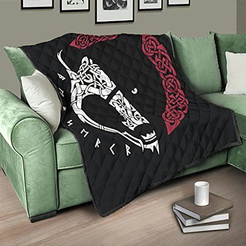 AXGM Colcha vikinga con oso pirata y oso pirata, manta para el salón, para viajes, camping, color blanco, 200 x 230 cm