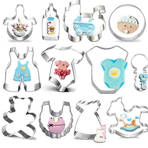Baby Shower Cookie Cutter Set - 12 Piece -Teddy Bear,Onesies, Bib, Rattle, Bottle, Baby Carriage,Rocking Horse Fondant/Biscuit Cutters