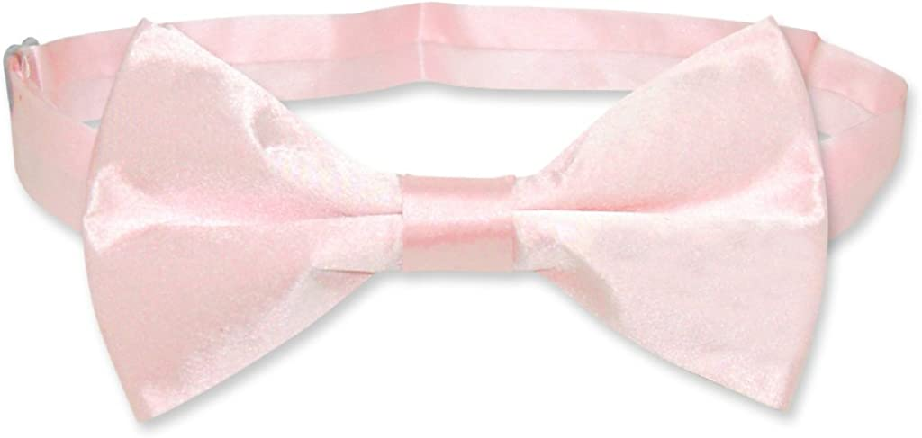 BIAGIO 100% SILK BOWTIE Solid LIGHT PINK Color Men's Bow Tie for Tuxedo or Suit